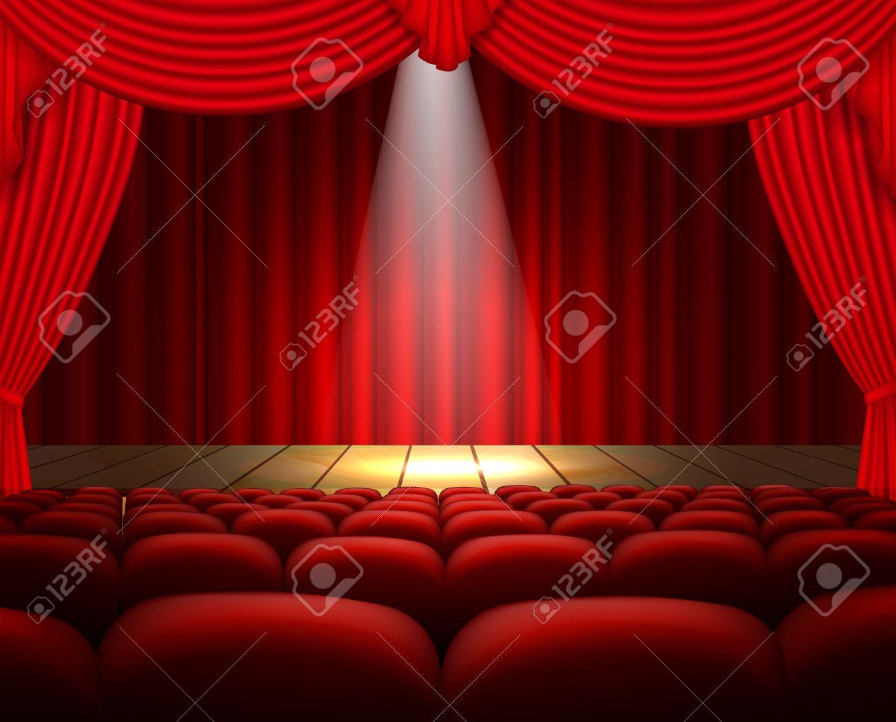 un escenario de teatro con asientos para cortinas rojas y un centro de atencin foto de