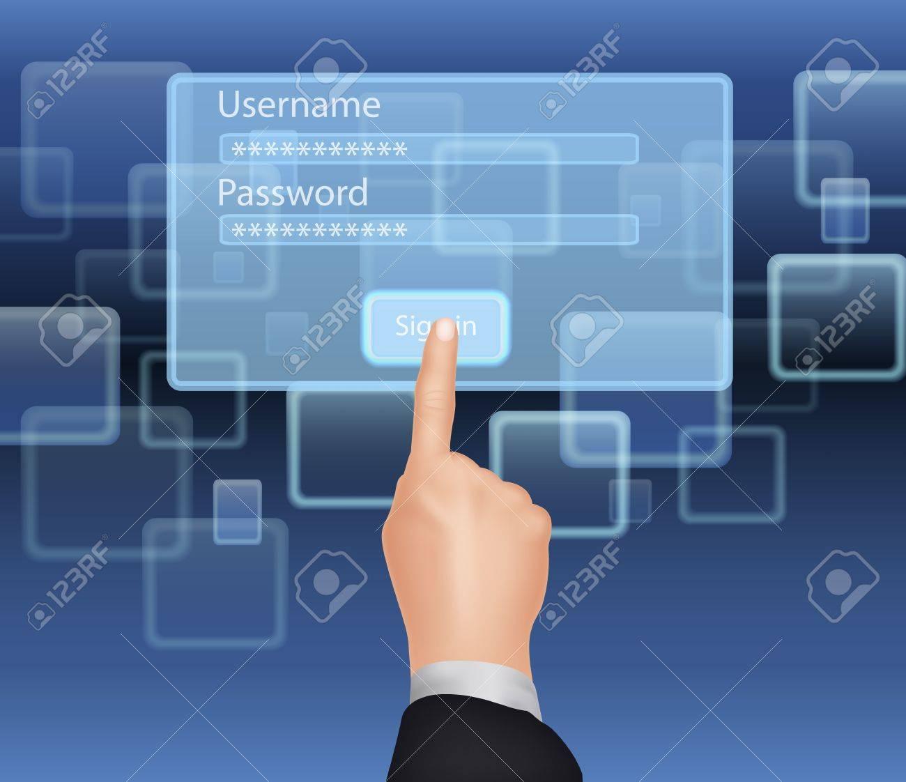 "123Rf Password hand choose enter ""username and password"" on virtual screen stock"