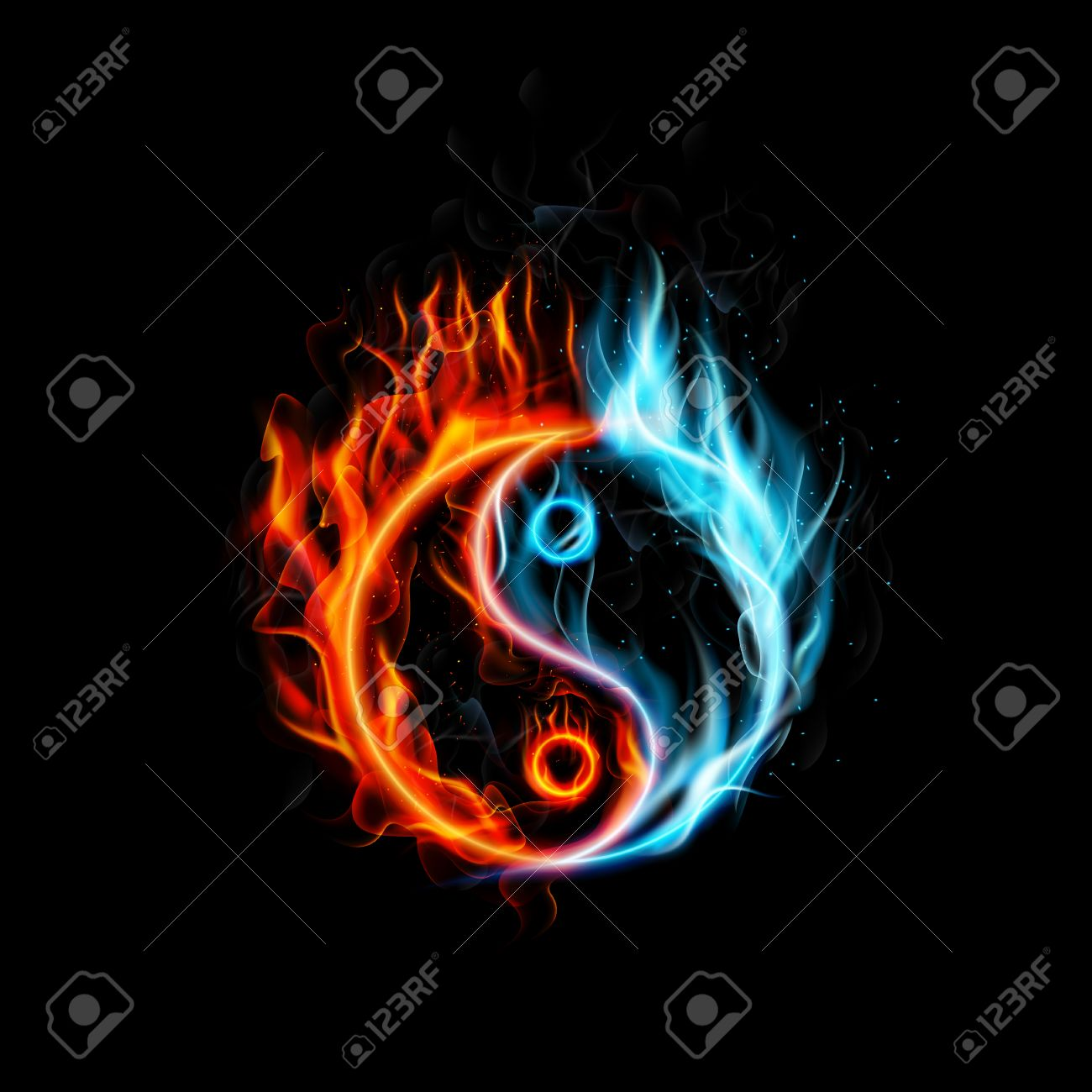illustration of fire burning yin yang with black background royalty