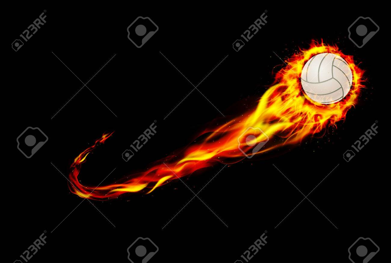 Volleyball Ball On Fire