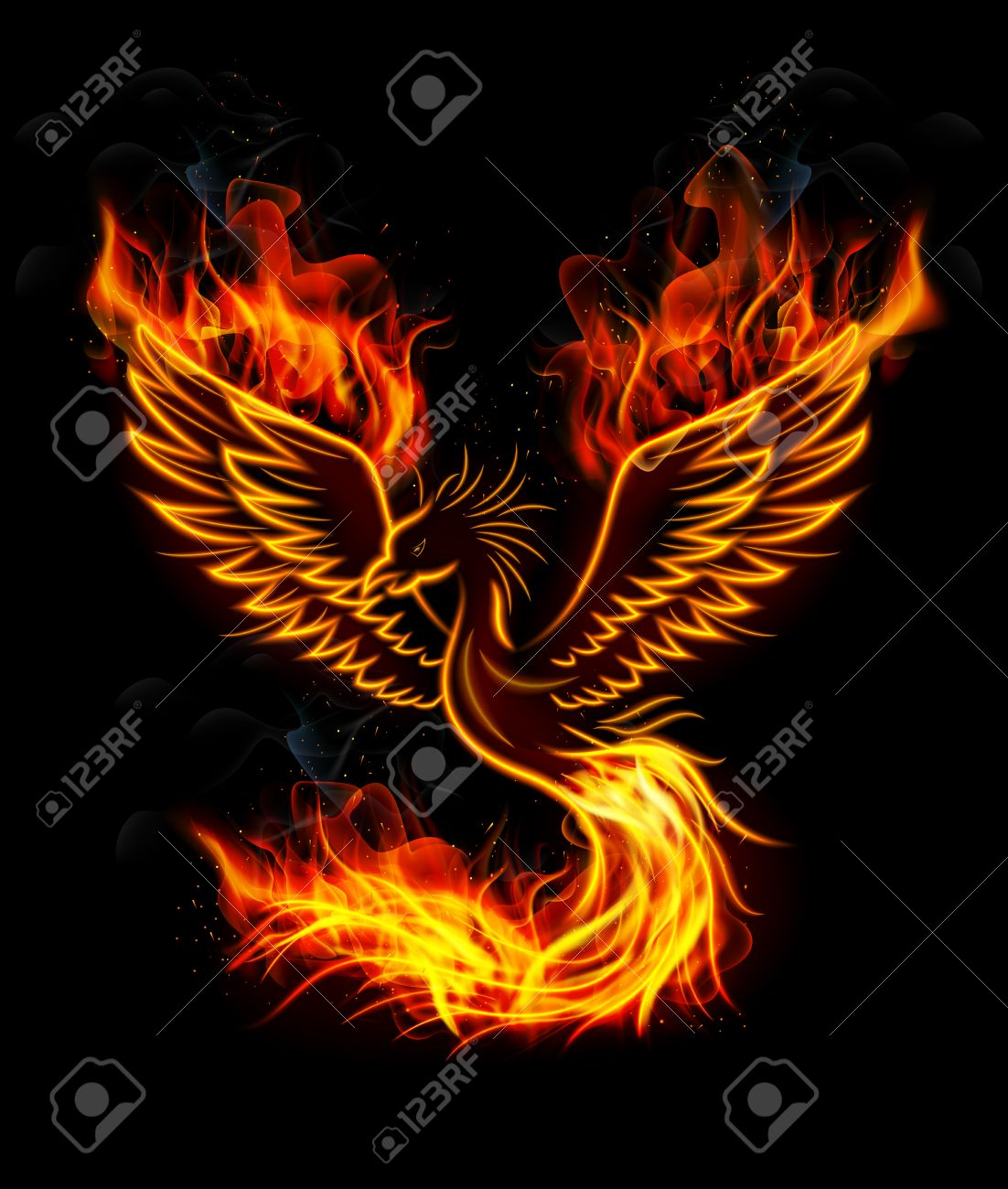 fire burning phoenix bird with black background stock photo picture