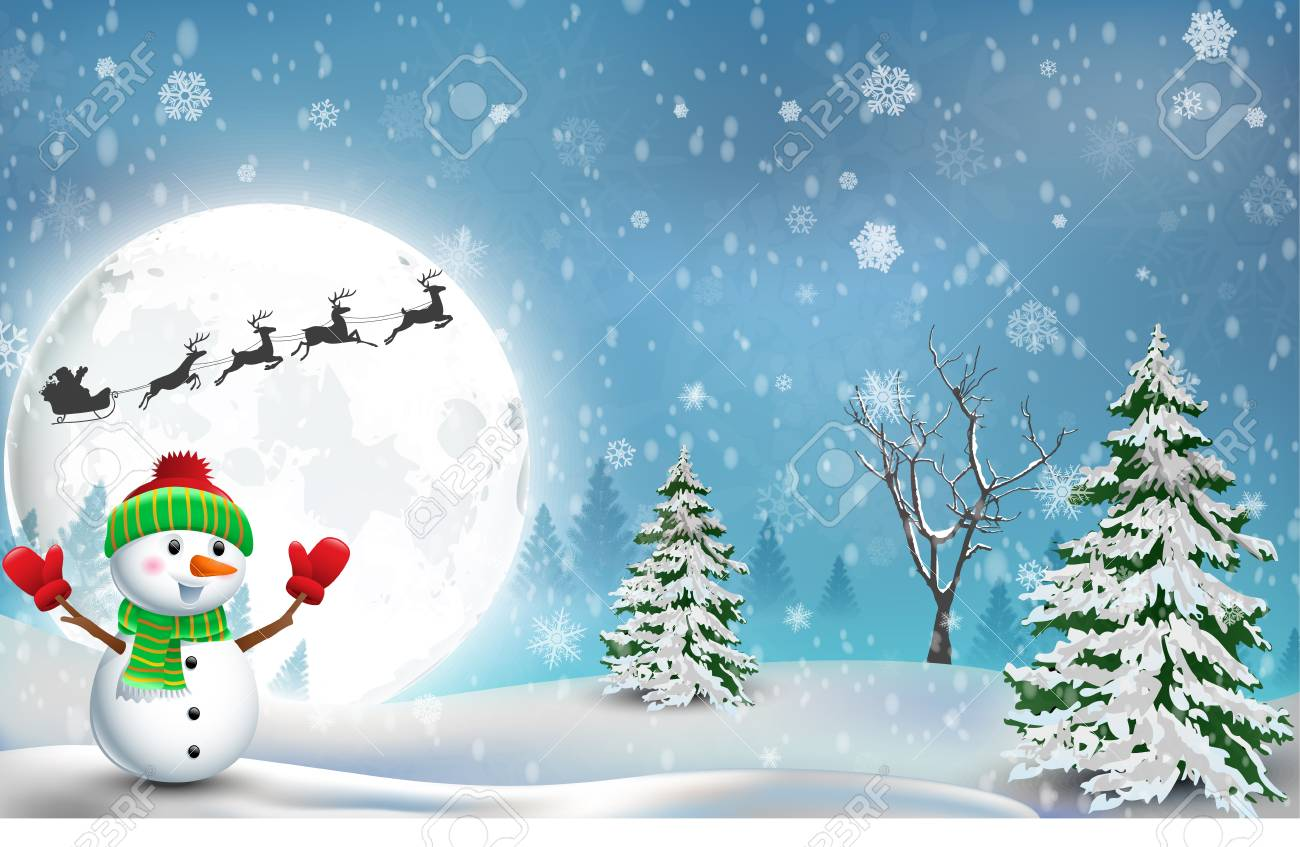 48498112 happy snowman christmas background