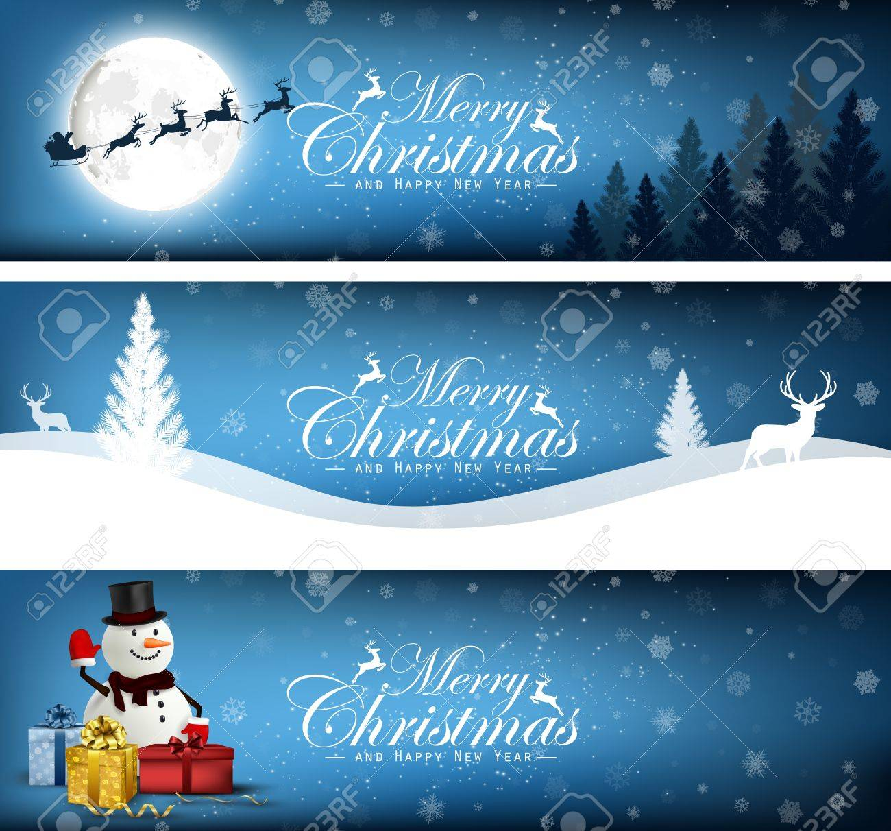 set of merry christmas banner design background stock vector 48891028