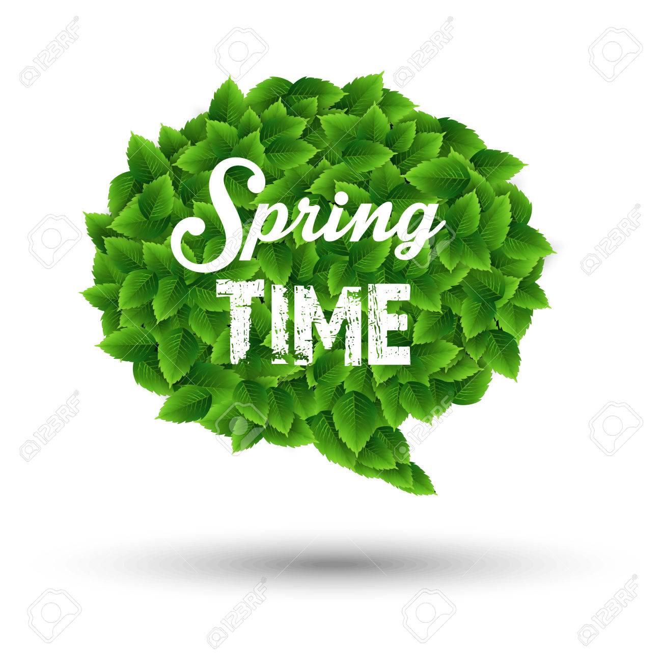 Springtime Greeting In A Speech Bubble Of Green Leaves Stock Photo