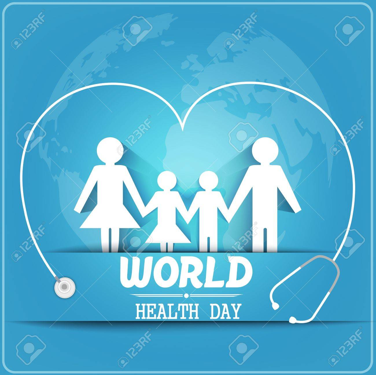 World health day concept with healthy family under stethoscope and globe - 55687110