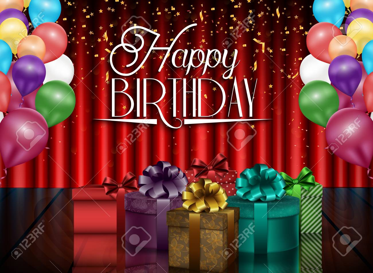 Birthday Background Of Party With Color Balloons And Gift Boxes