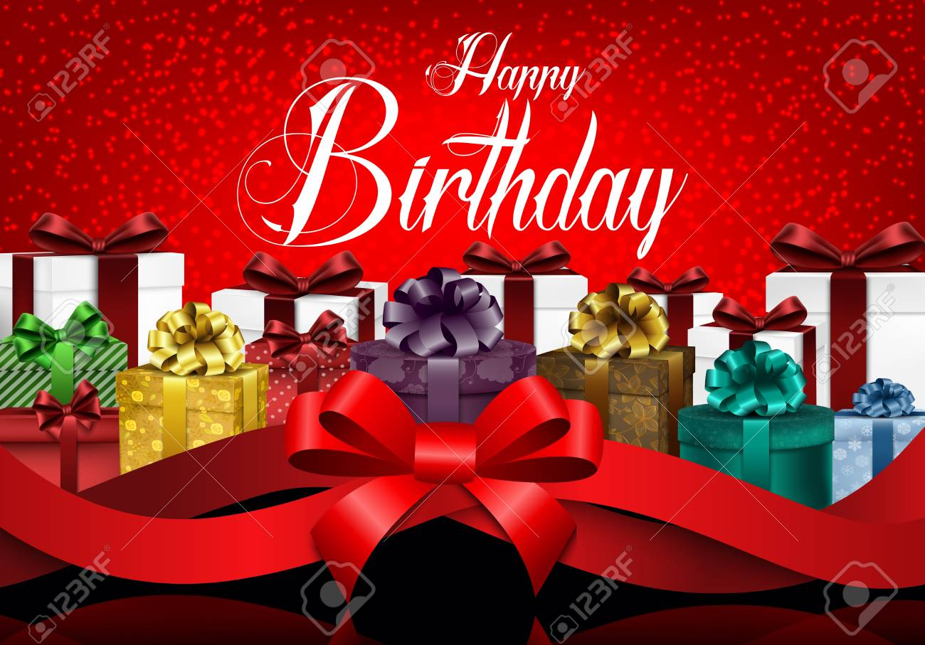 Happy Birthday Background With Color Gift Boxes And Realistic