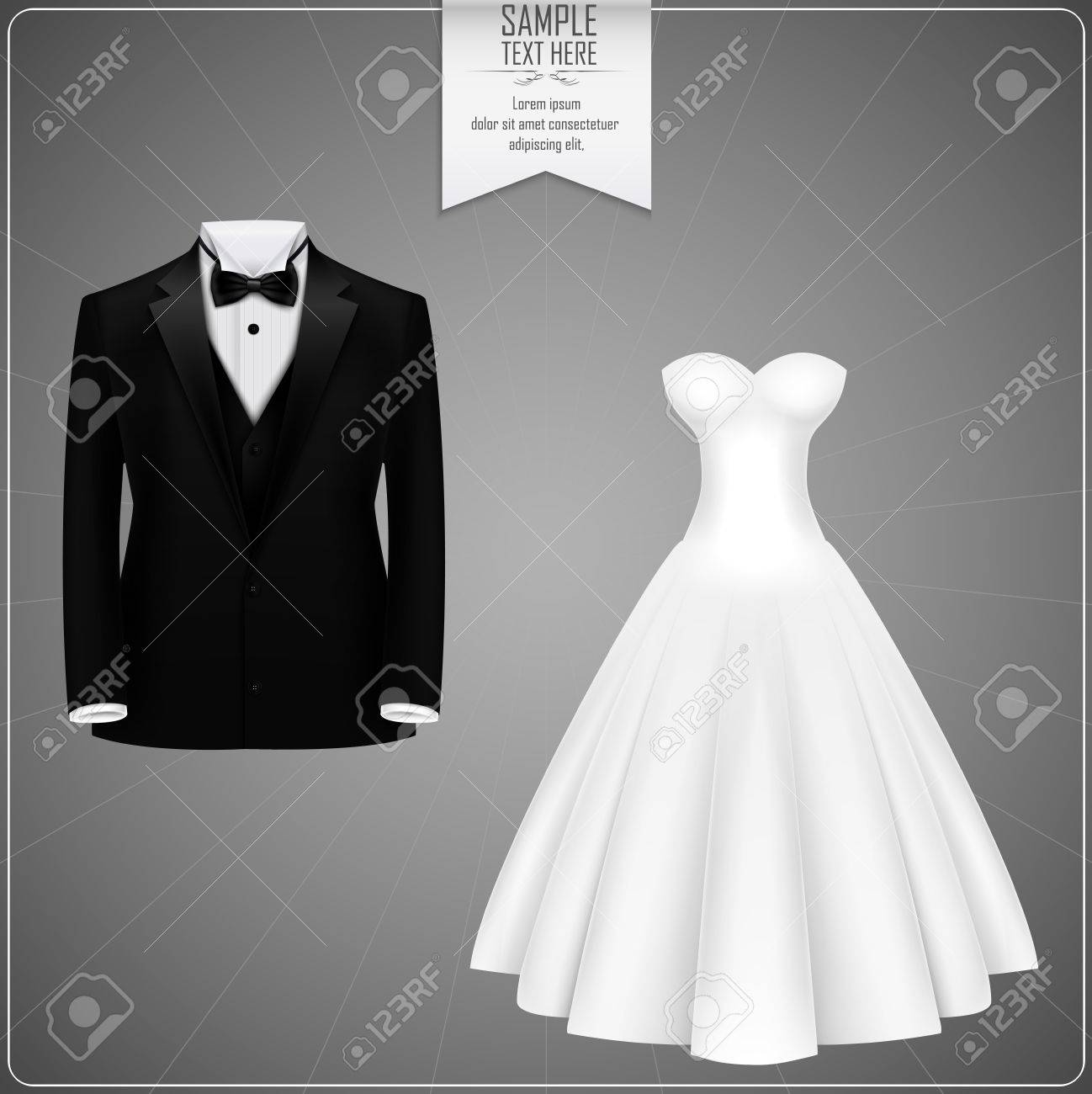 Black Tuxedo And White Bridal Gown Stock Photo, Picture And Royalty ...