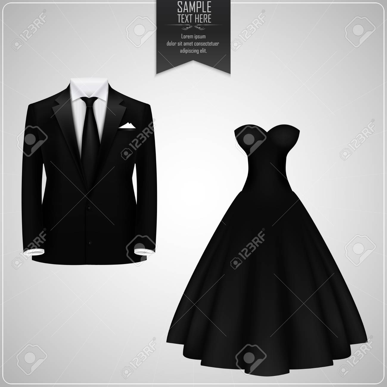 Black Groom Suit And Black Bridal Gown Stock Photo, Picture And ...