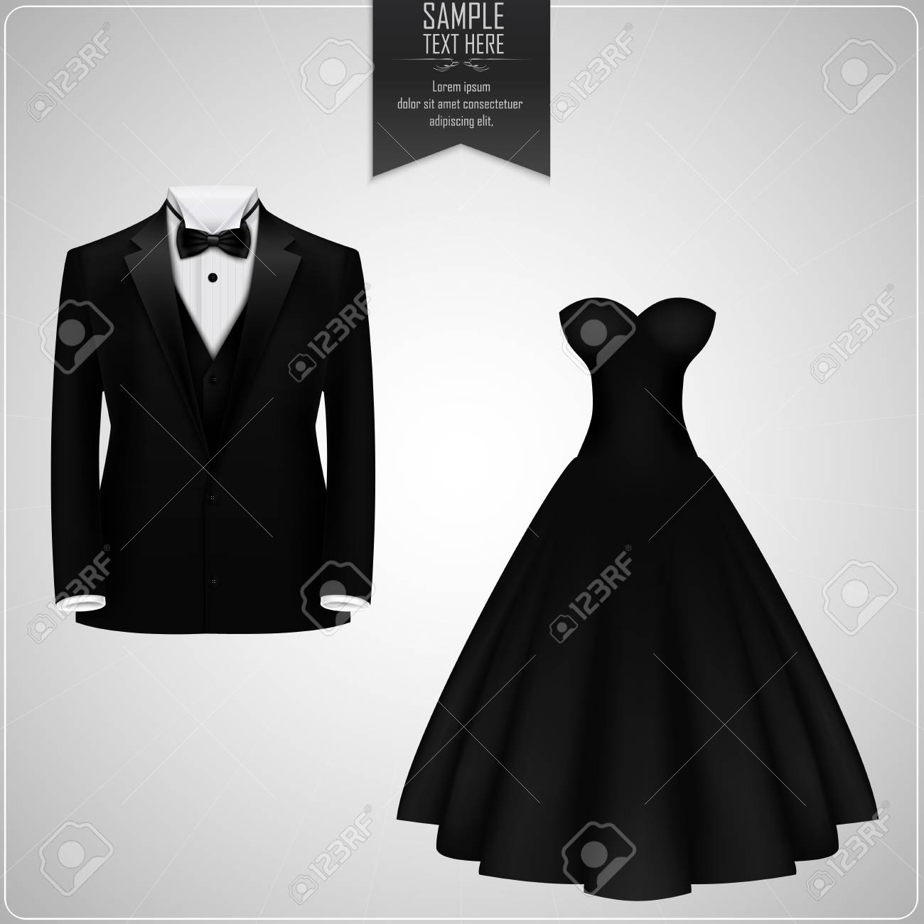 Black Tuxedo And Black Bridal Gown Royalty Free Cliparts, Vectors ...