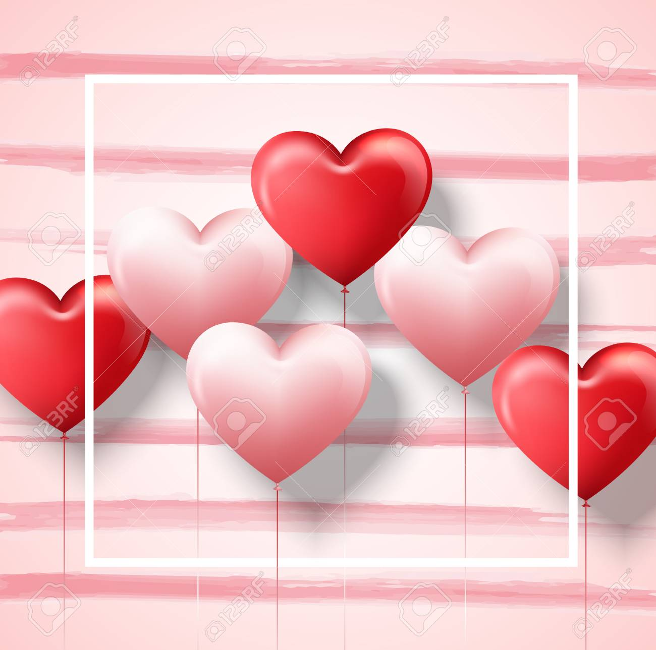 Happy Valentine S Day Card Template With Pink And Red Heart Balloons