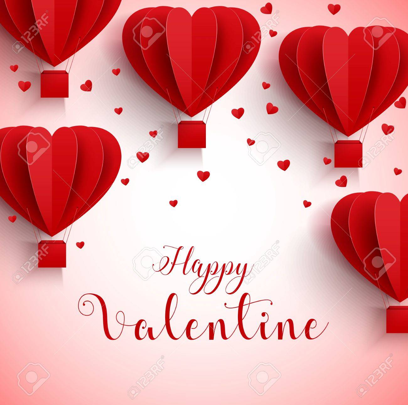 Happy Valentines Day Greetings Card With Realistic Paper Cut Stock