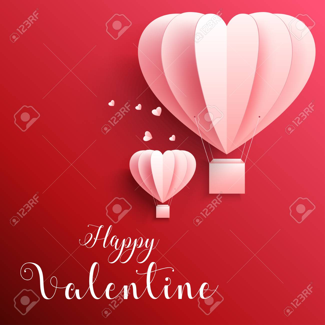 Happy Valentines Day Greetings Card With Realistic Paper Cut