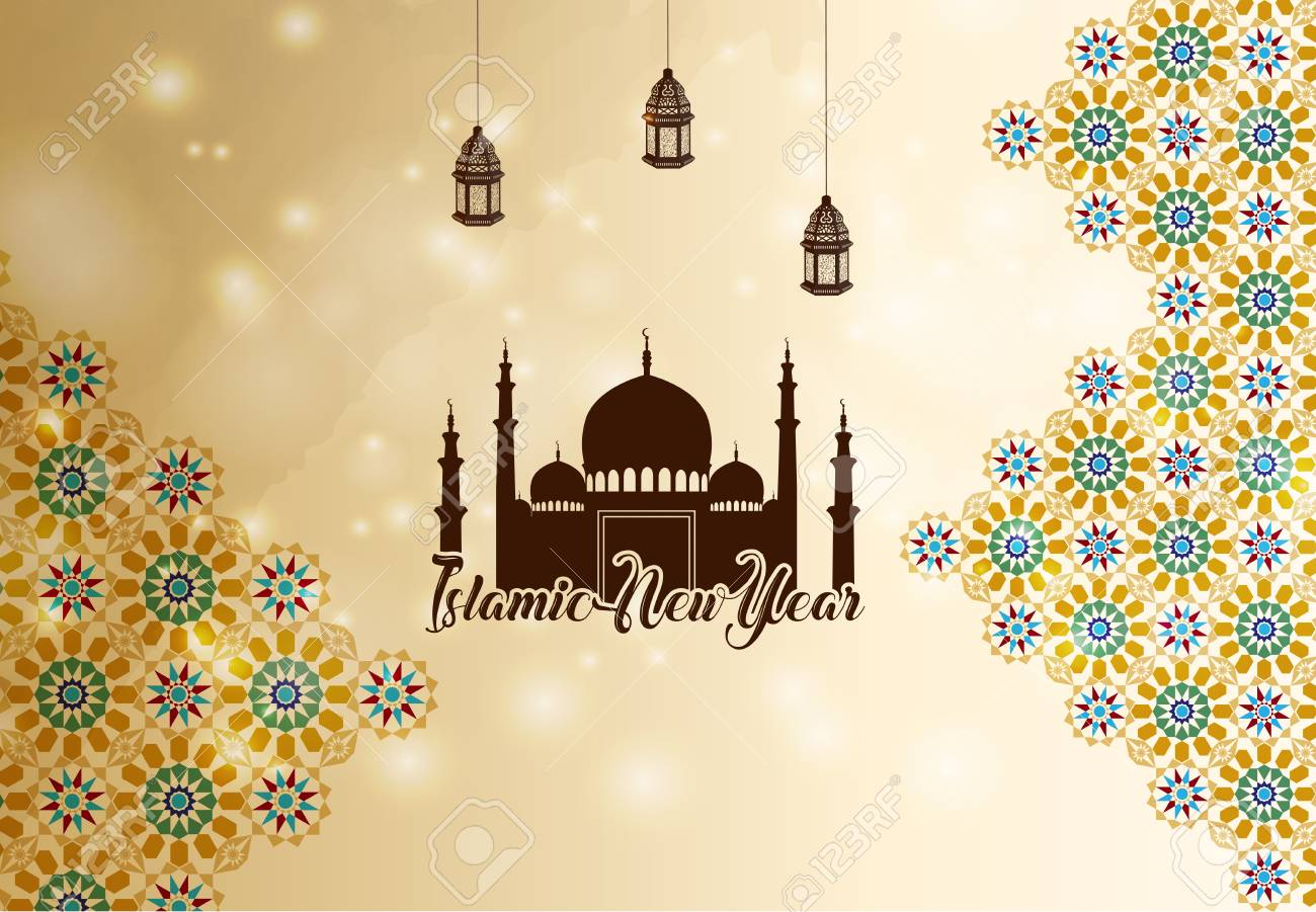 vector vector illustration of islamic new year greeting background silhouette mosque