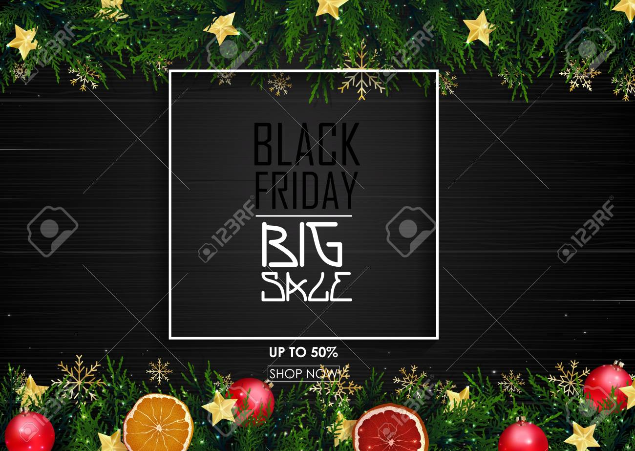 black friday sale poster with christmas decoration on wooden background stock photo 89122078