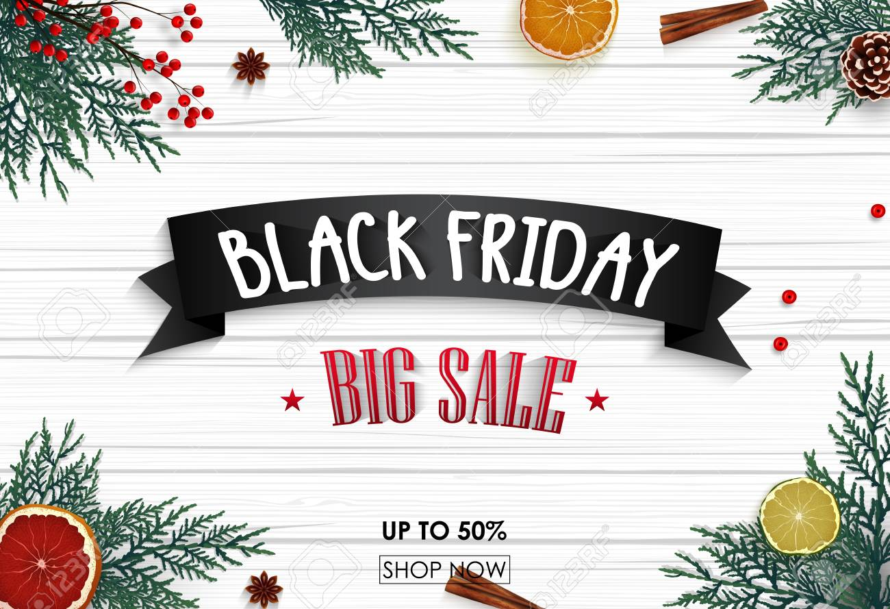 Black Friday Christmas Decorations.Black Friday Sale Banner With Christmas Decoration On Wooden