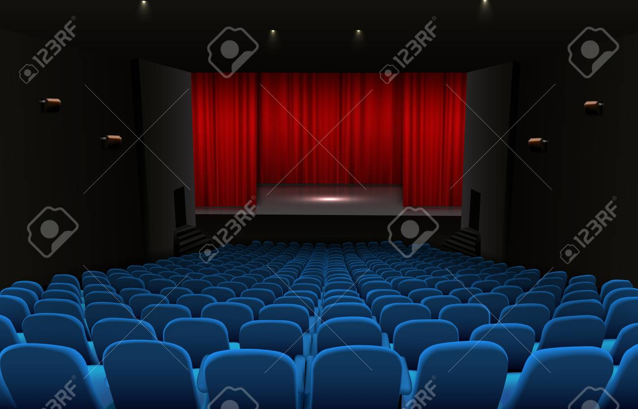 Theater Stage With Red Curtains And Blue Seats Stock Photo
