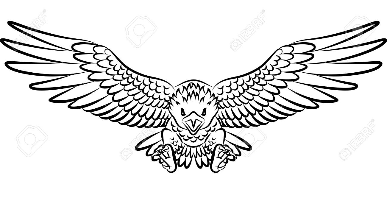 Tribal Eagle Tattoo Isolated On White Background