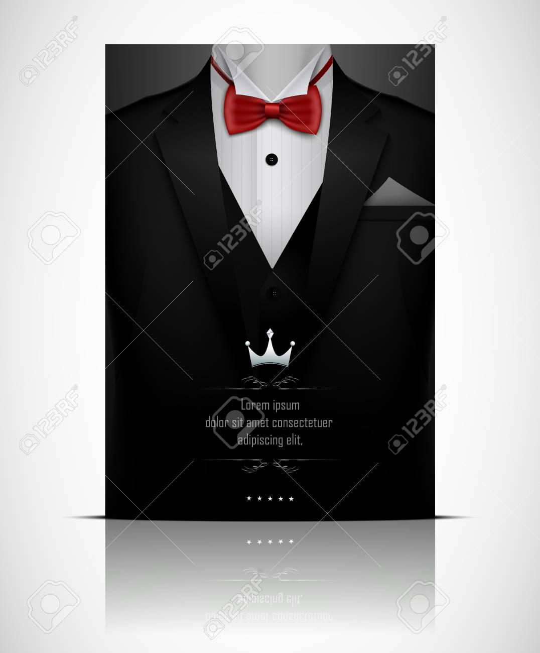 d99a501d74c1 Black Suit And Tuxedo With Red Bow Tie Stock Photo, Picture And ...