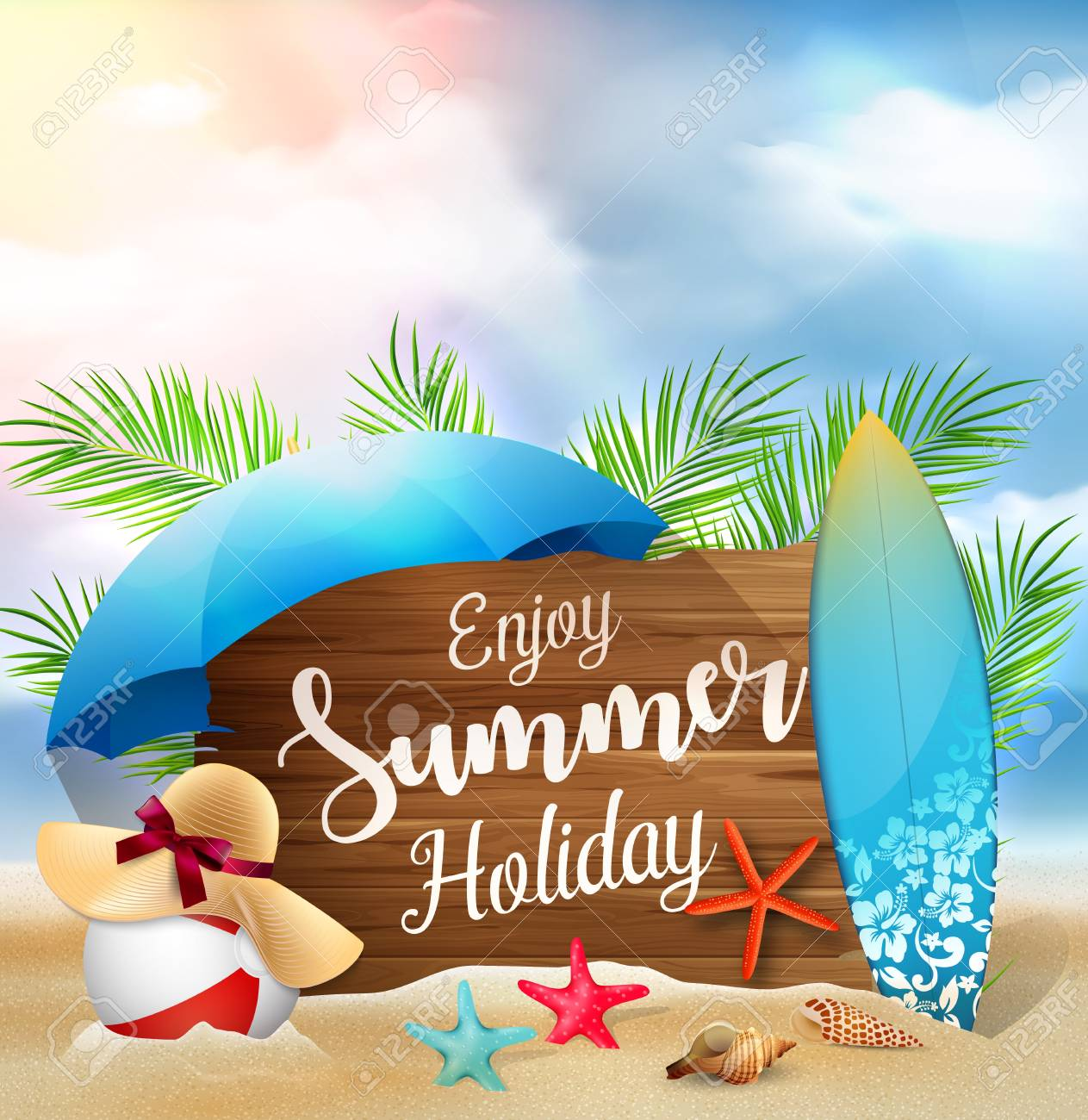 Illustration Of Enjoy Summer Holidays Banner Design With A Wooden