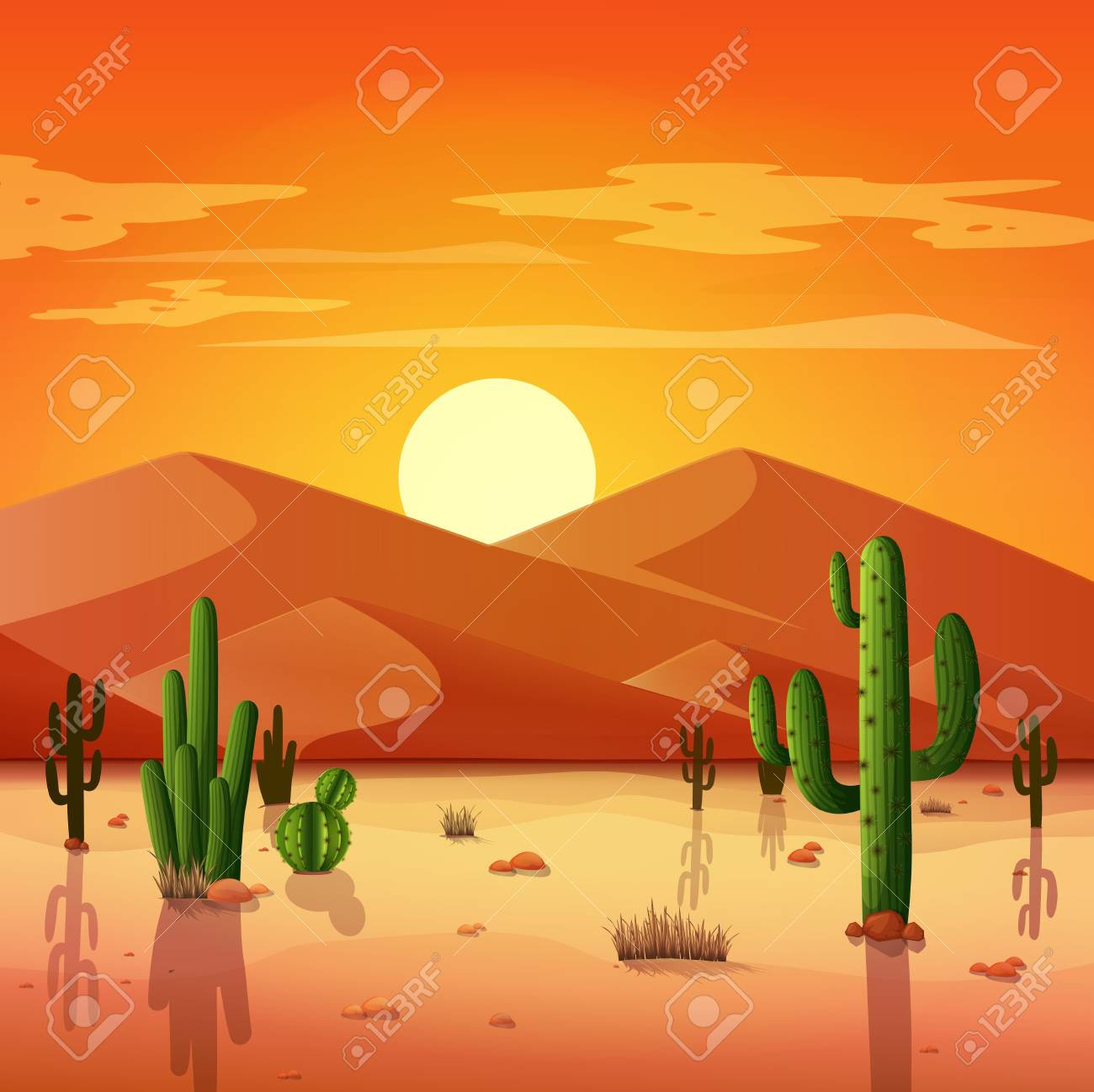Desert Landscape With Cactuses On The Sunset Background Royalty Free Cliparts Vectors And Stock Illustration Image 100973452