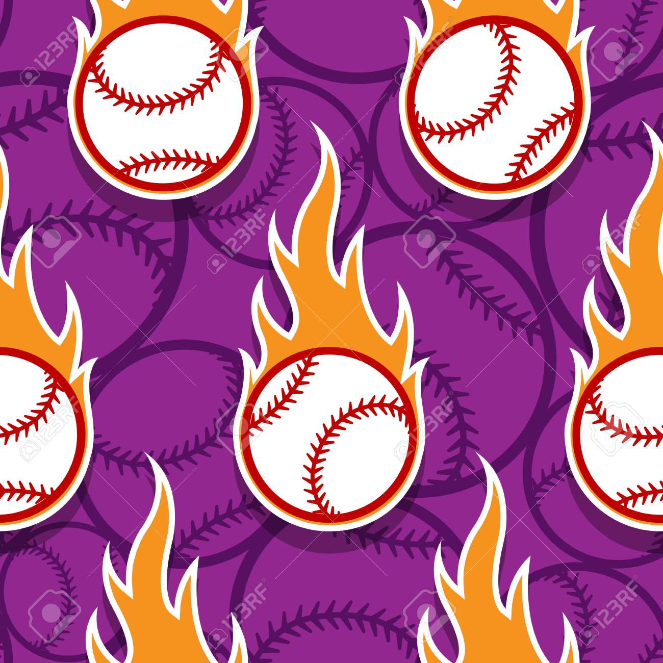 Seamless Pattern With Baseball Ball Icons And Flames Vector Royalty Free Cliparts Vectors And Stock Illustration Image 112339943