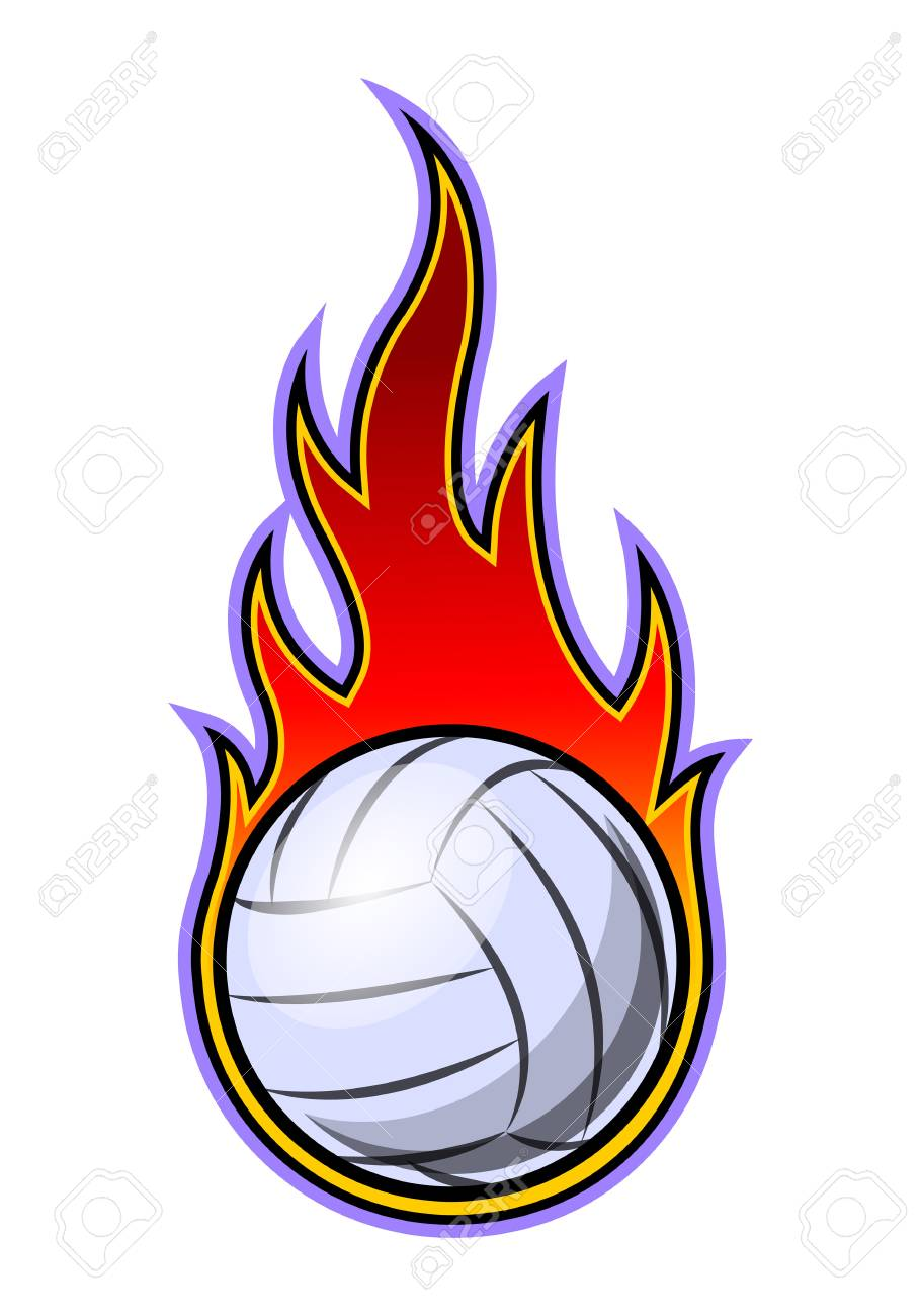 Vector Illustration Of Volleyball Ball With Simple Flame Shape Royalty Free Cliparts Vectors And Stock Illustration Image 108058619