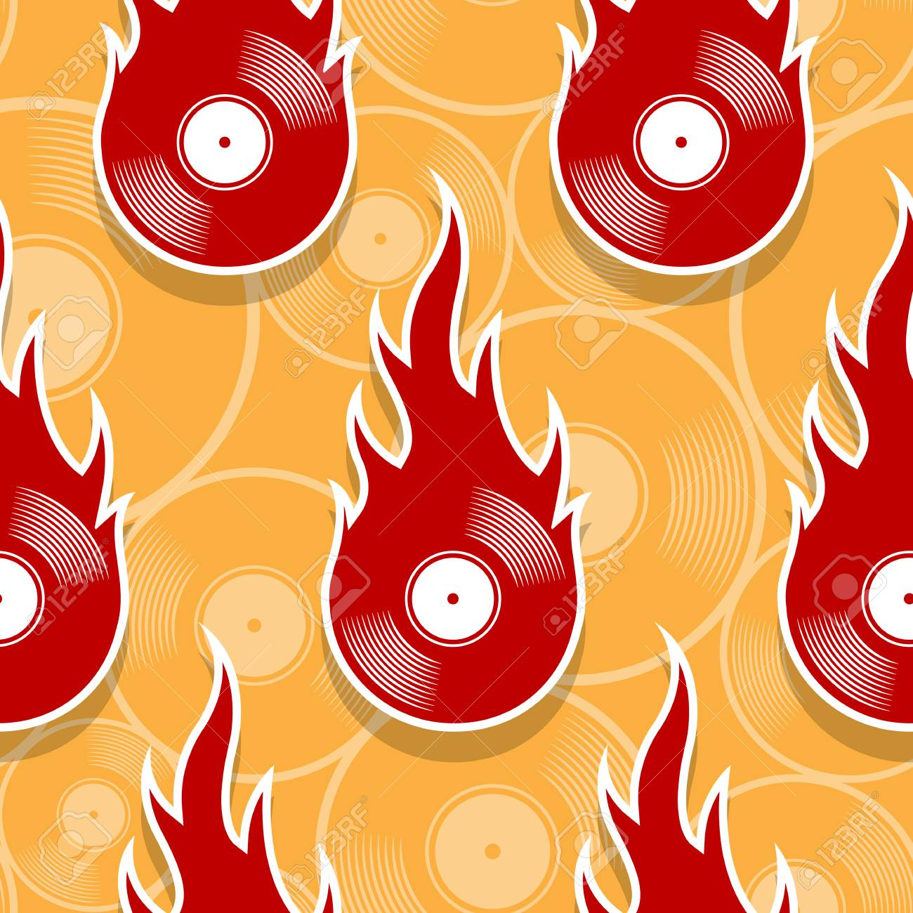 Seamless Pattern With Retro Vintage Vinyl Record Icons And Flames