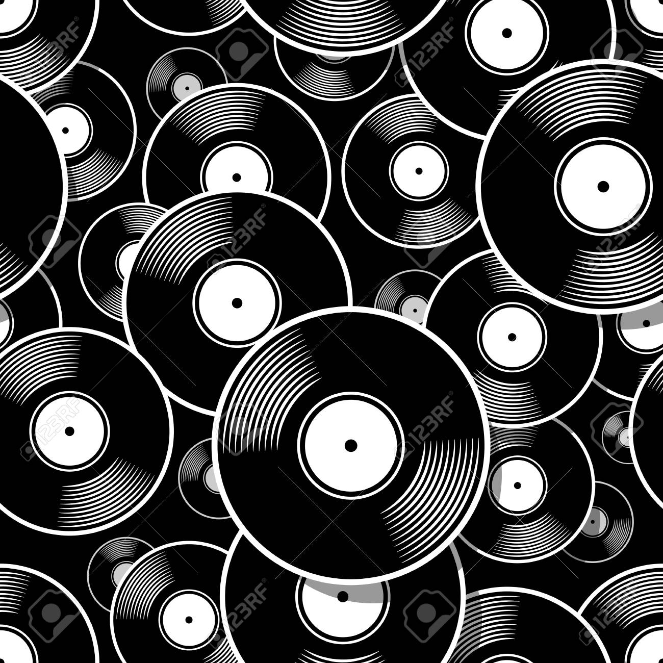 image about Printable Records titled Retro new music basic vinyl heritage icon printable seamless behavior