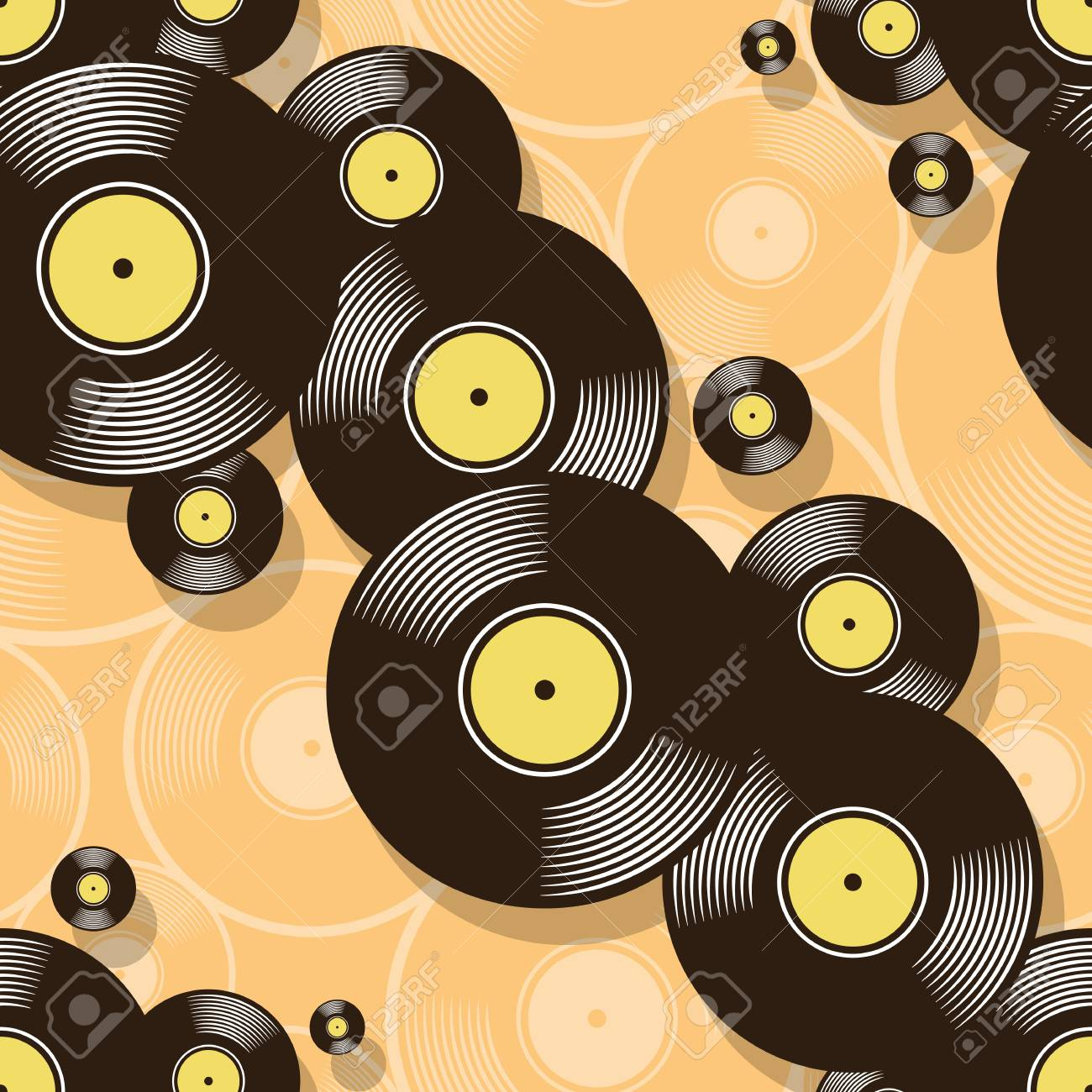 Retro Music Vintage Vinyl Record Icon Printable Seamless Pattern