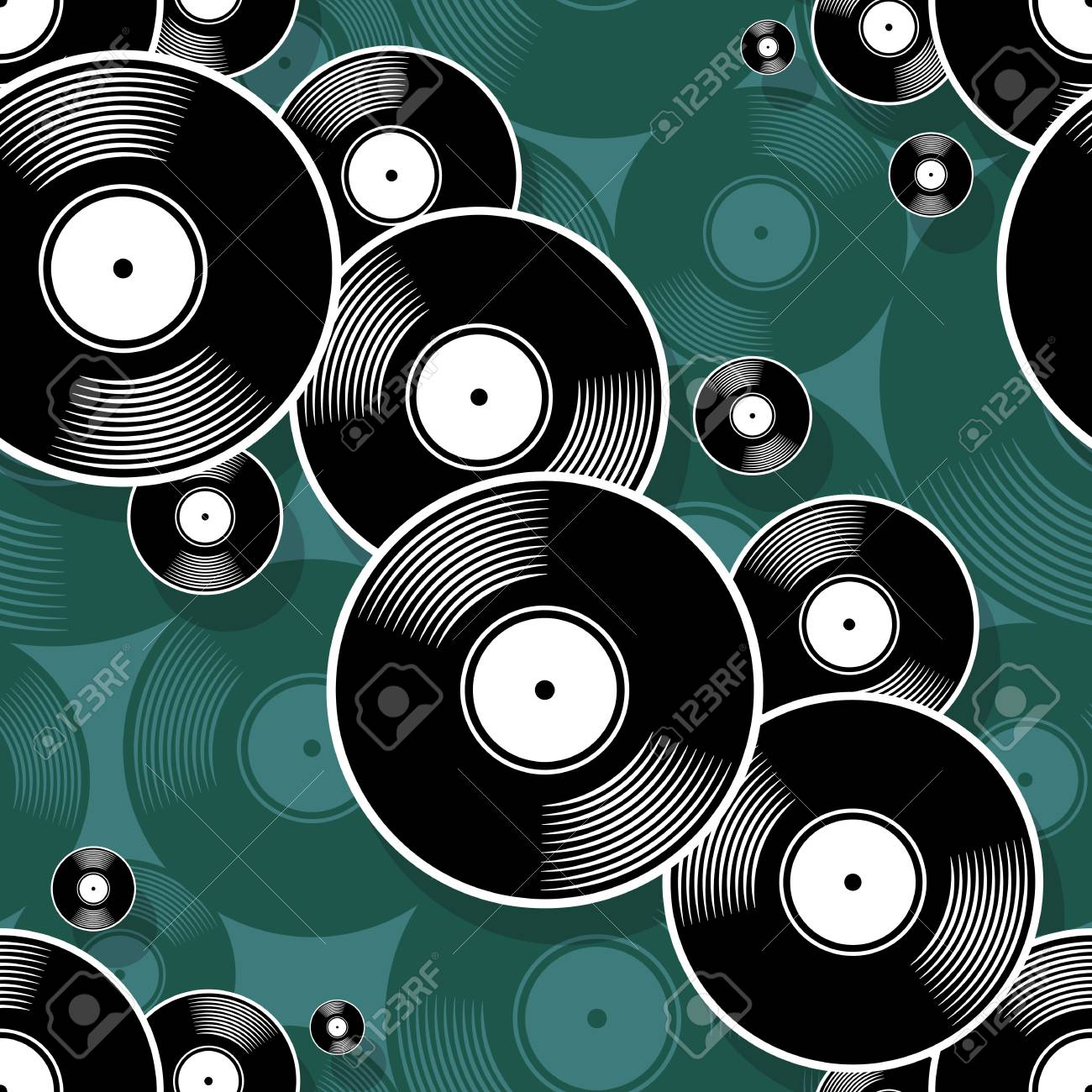 Retro Music Vintage Vinyl Record Icon Printable Seamless Pattern Vector Illustration Ideal For Wallpaper Wrapper Packaging Fabric Textile Paper