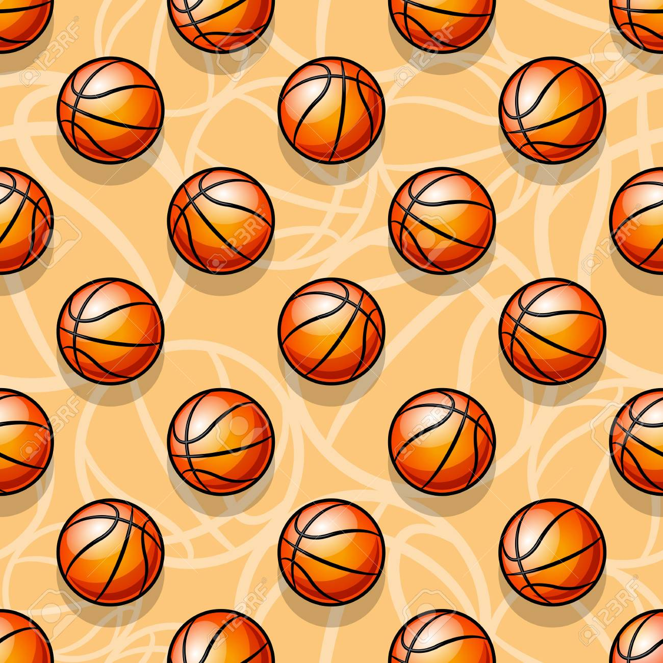 Seamless Pattern With Basketball Ball Vector Illustration Ideal
