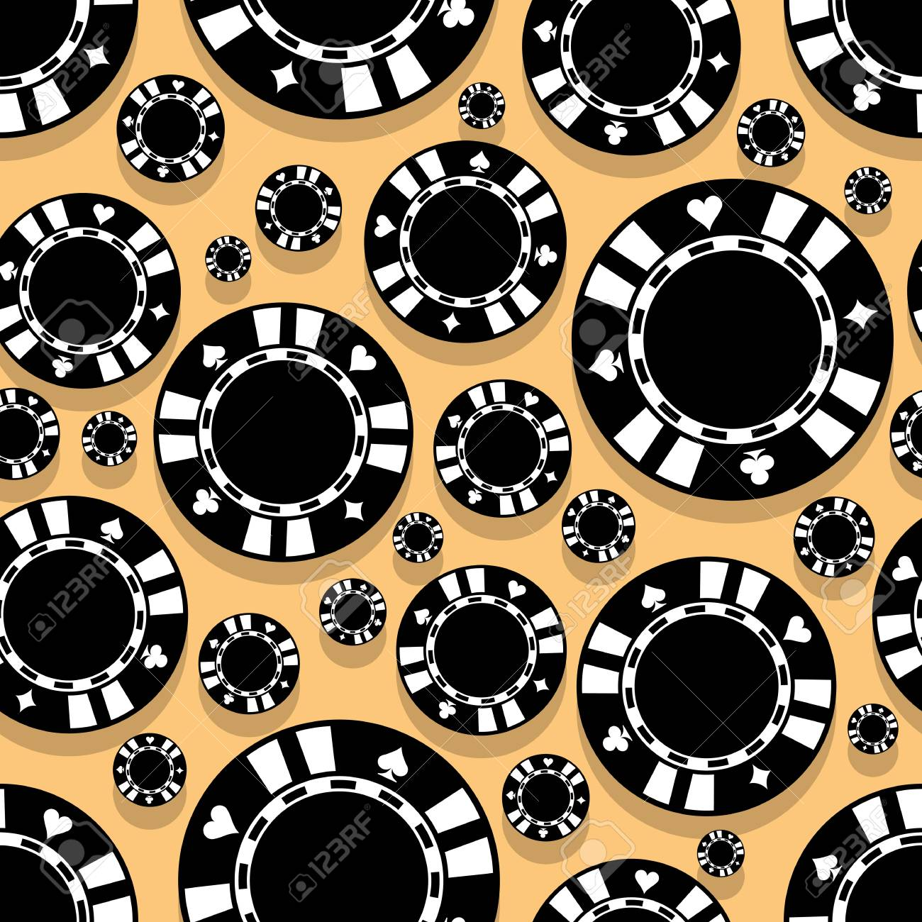 Casino Poker Chips Icon Seamless Pattern Digital Printable Vector