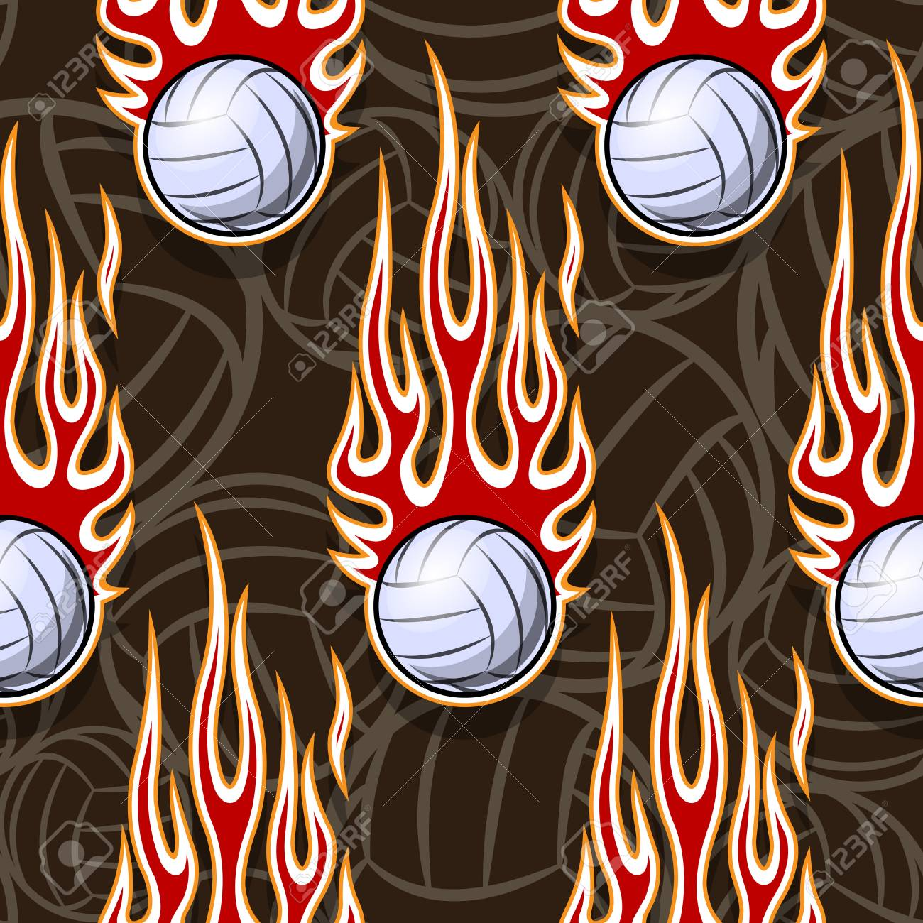 photo regarding Printable Volleyball referred to as Volleyball ball seamless routine with very hot rod flame. Printable..