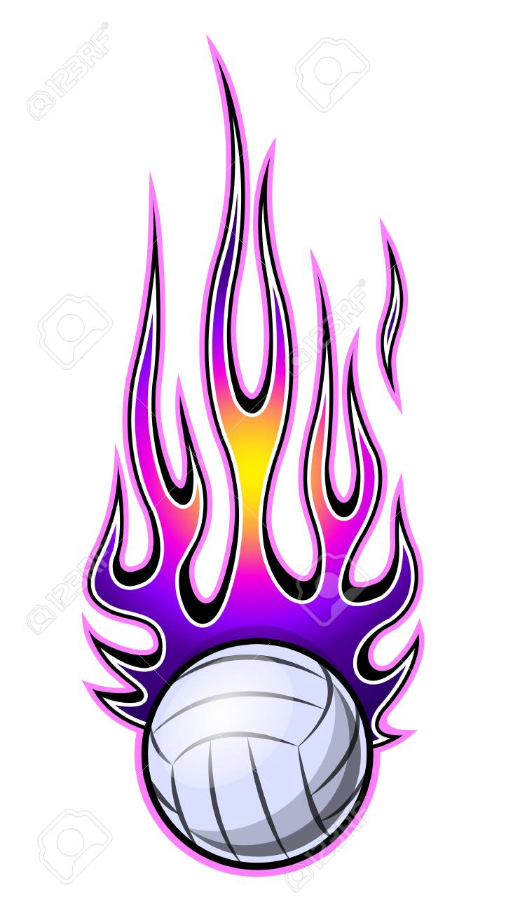 picture relating to Volleyball Printable identify Vector example of volleyball ball with warm rod flame. Perfect..