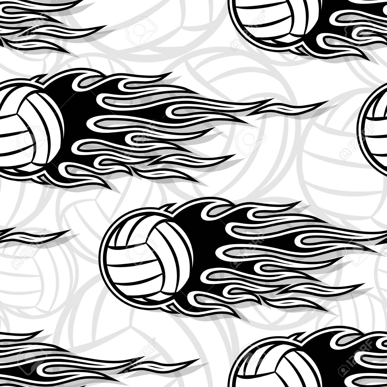 photo about Volleyball Printable called Volleyball ball seamless habit with very hot rod flame. Printable..