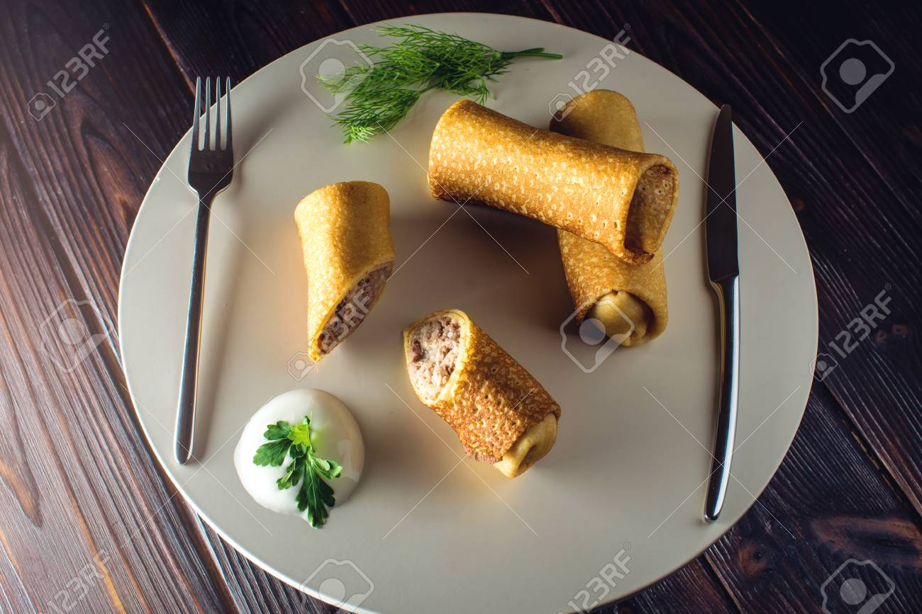Pancake Rolls With Meat And Fish Salmon. Beautiful Table Setting ...
