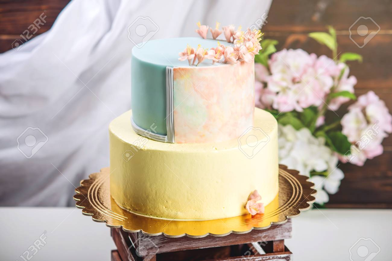 Artwork. Wedding Cake Decorated In Pastel Style With A Combination ...