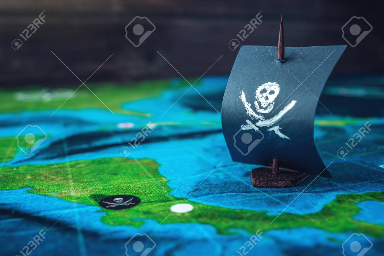 Toy boat pirate flag skull and bones on the world map of the playing toy boat pirate flag skull and bones on the world map of the playing field handmade gumiabroncs Images
