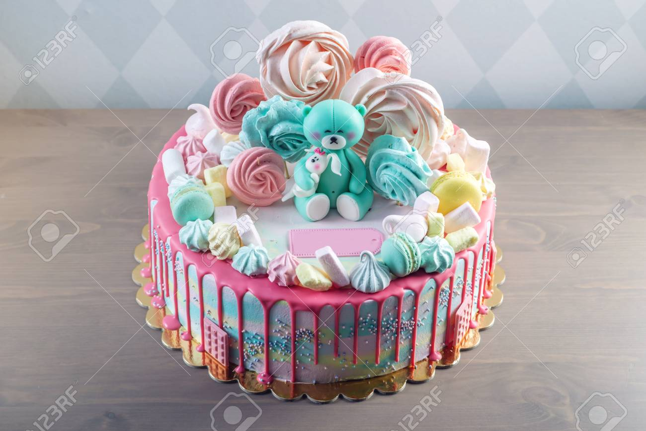 Big Beautiful Kids Cake Decorated With Turquoise Teddy Bear And Colorful Meringues Marshmallows The