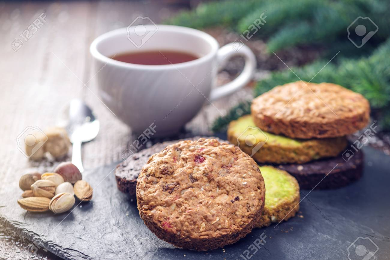 Homemade Christmas Or New Year Holiday Oatmeal Cookies With ...
