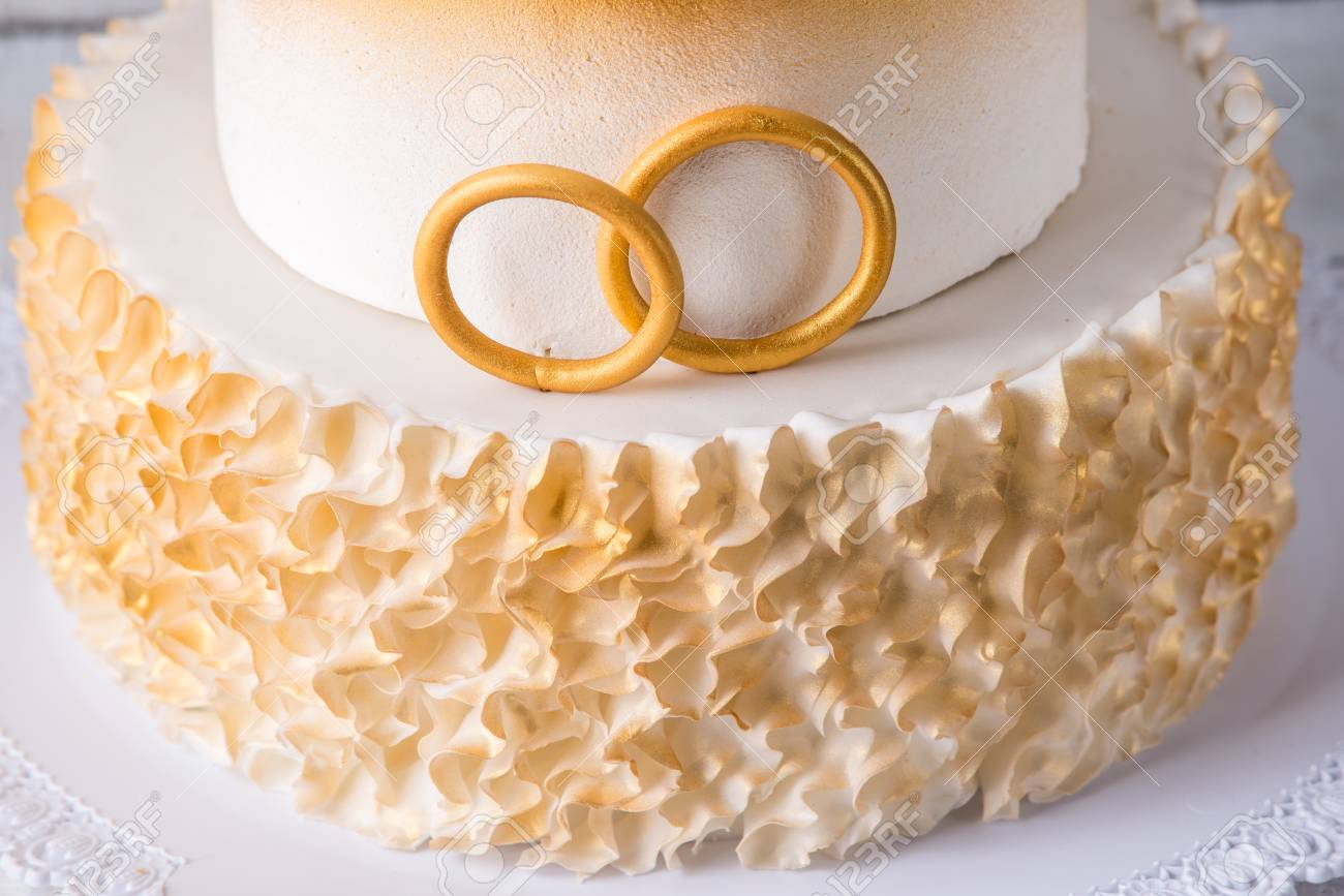 A Beautiful Cake For The 50th Anniversary Of The Wedding Decorated Stock Photo Picture And Royalty Free Image Image 95724907