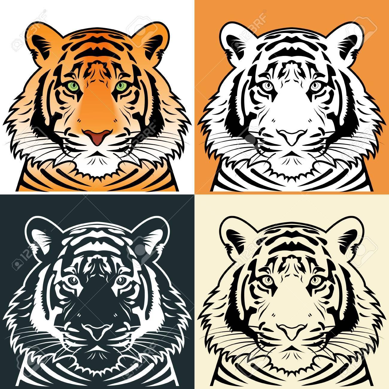 Tiger head silhouette illustration - 30579388