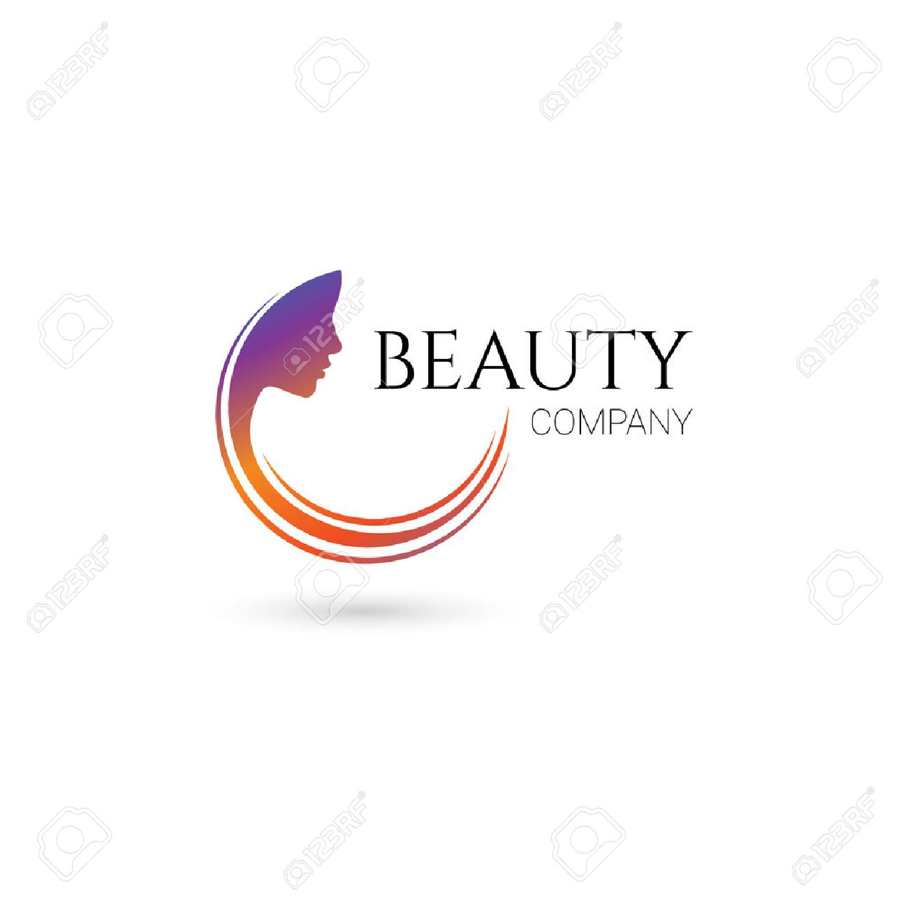 Logo for beauty salon, company with female face and hair Stock Vector - 45067984