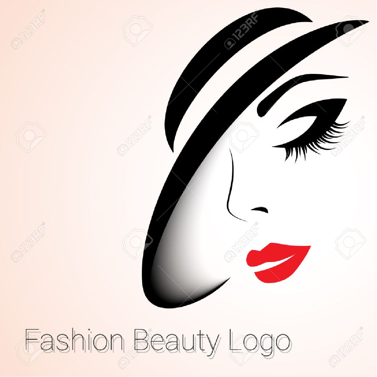 Fashion And Beauty Logo Big Variant Womans Face With Hat Stock Vector