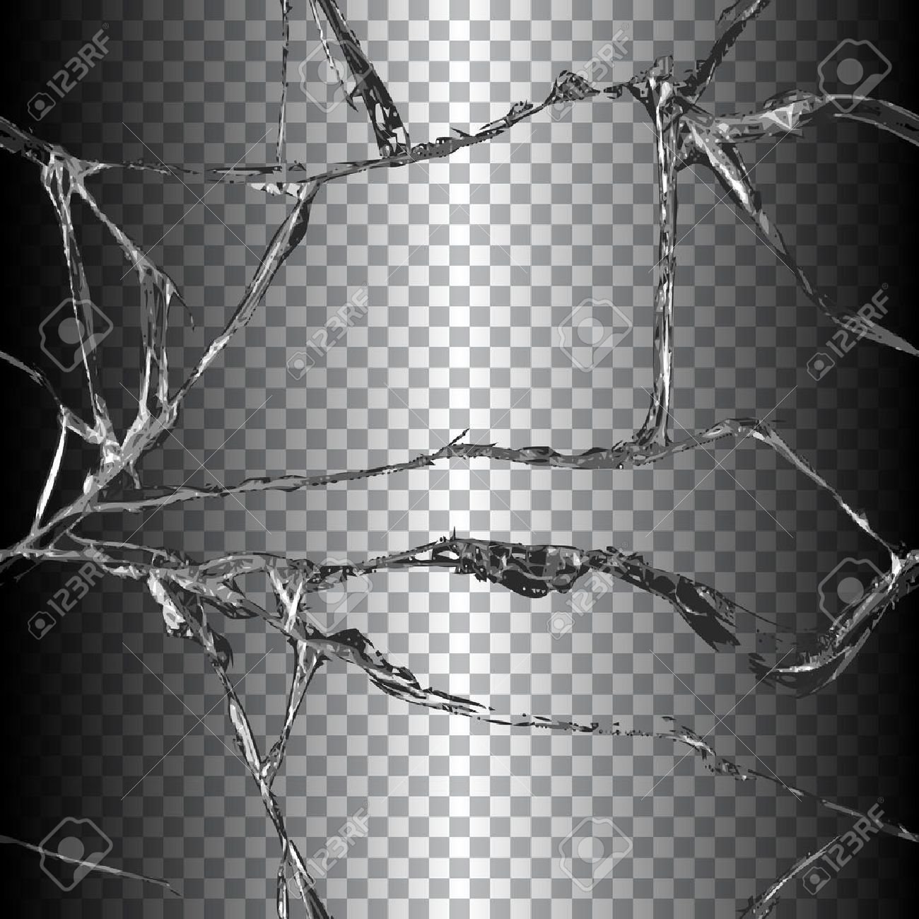Broken Chain Link Fence Vector realistic transparent broken glass seamless black background