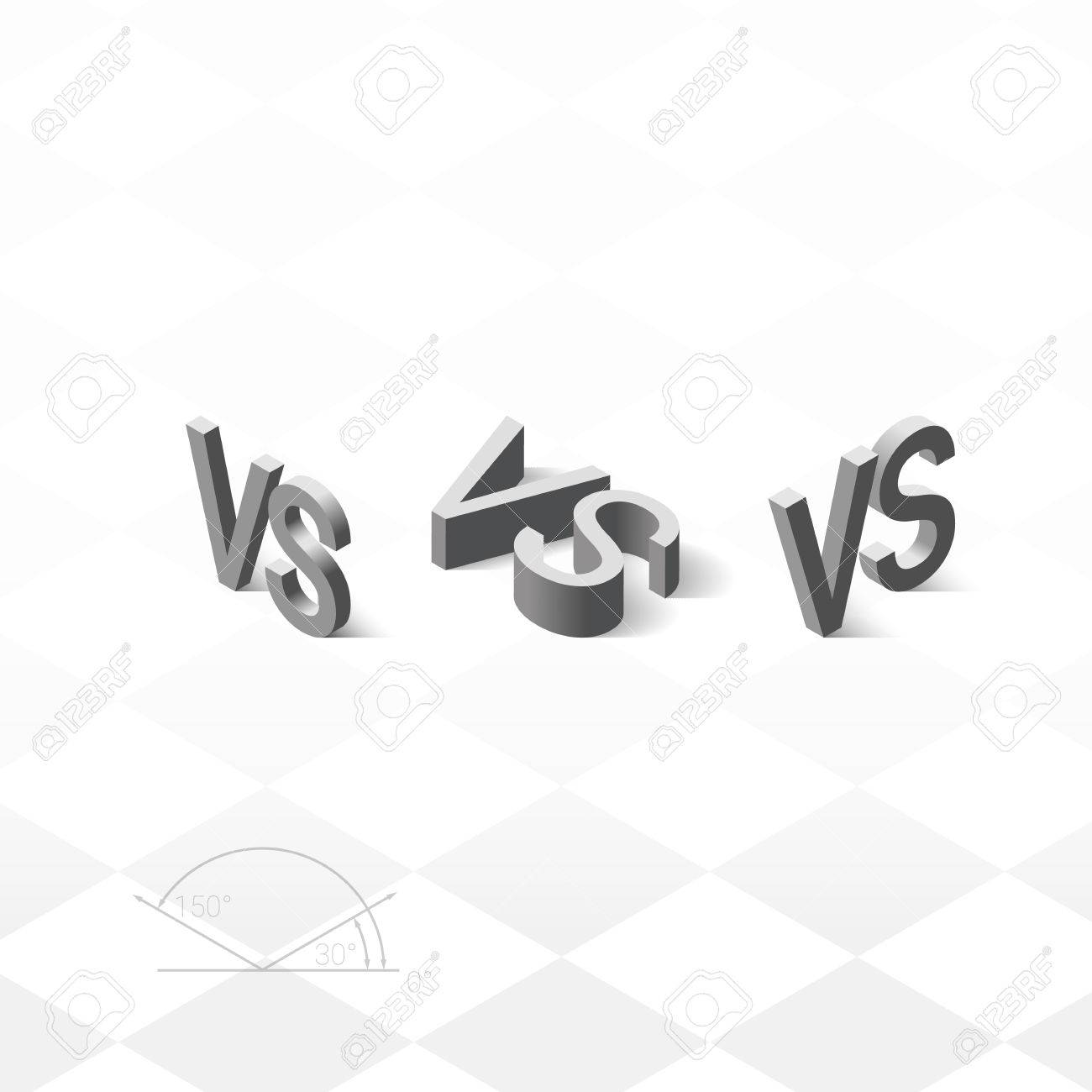 Versus Letters Logo Grey Isometric Letters V And S Symbols Royalty