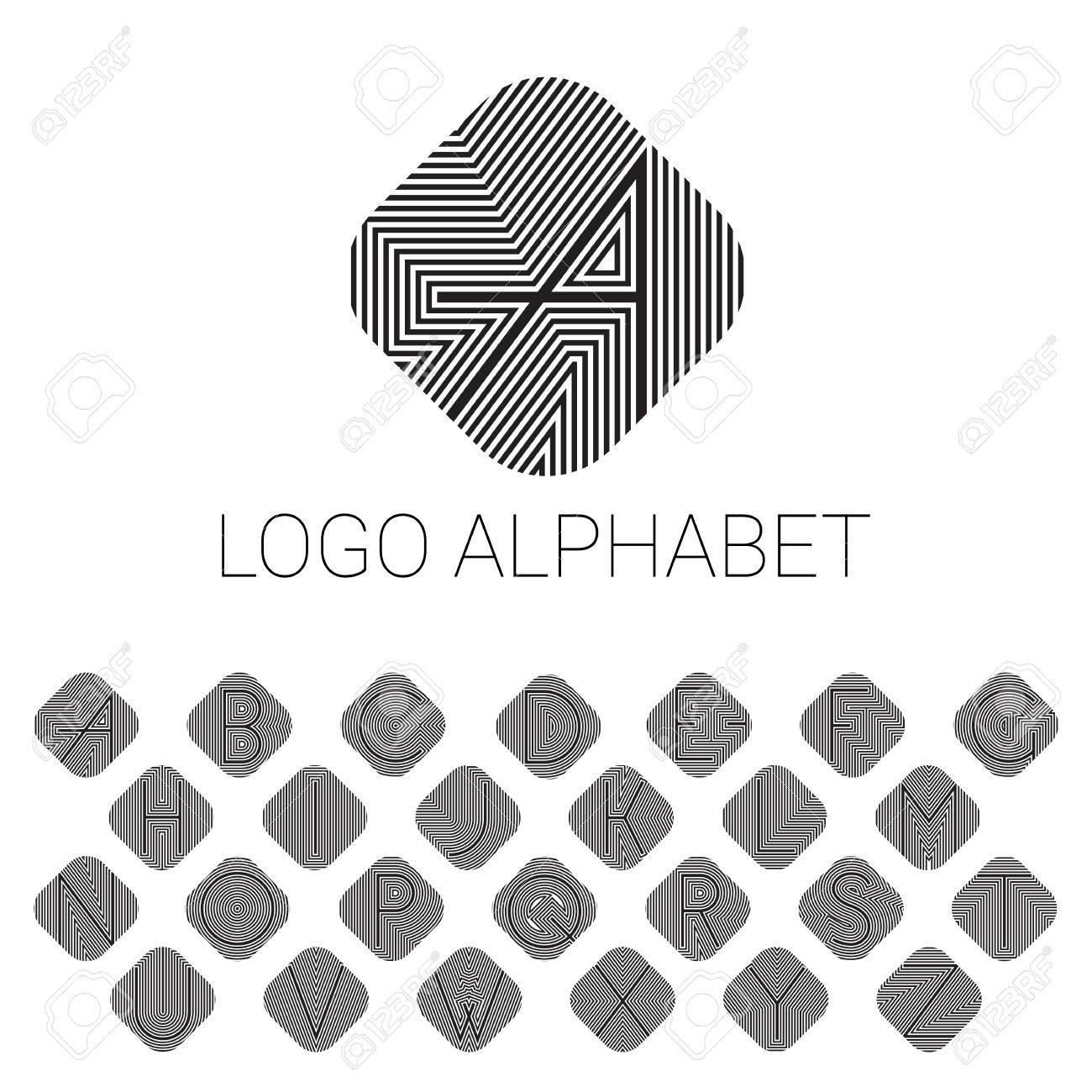 Alphabet brand letters as logo  ABC with patterned background