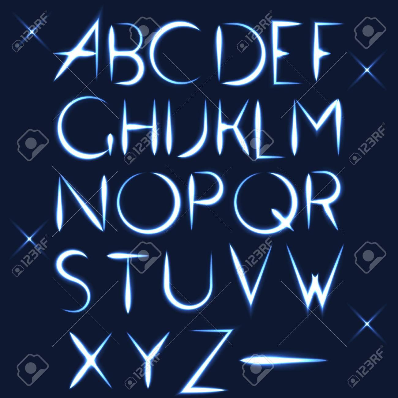 abc alphabet light font for letter design on dark background royalty