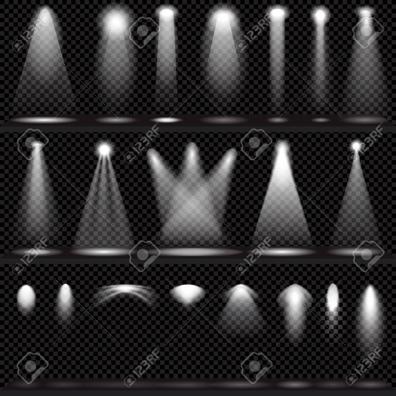 Scene illumination collection, transparent effects on a plaid dark background. Bright lighting with spotlights. - 54510500